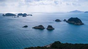 Vue aérienne des îles et de la mer images libres de droits