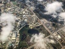 vue aérienne des bâtiments circulaires Photographie stock