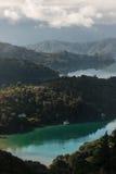 Vue aérienne des baies dans la Reine Charlotte Sound Image libre de droits