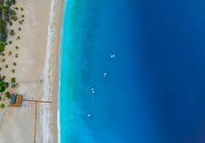 Vue aérienne des bateaux en mer Méditerranée dans Oludeniz, Turquie Images stock