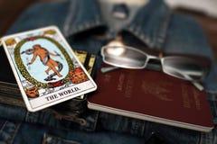 Vue aérienne des blues-jean et des accessoires Photos libres de droits