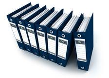 Vue aérienne des cahiers de boucle bleus dans une ligne Photo libre de droits