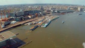 Vue aérienne des canaux à Amsterdam banque de vidéos