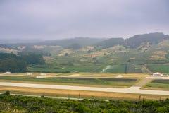 Vue aérienne des champs agricoles Photos stock
