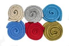 Vue aérienne des chaussettes de laine d'hiver Images libres de droits