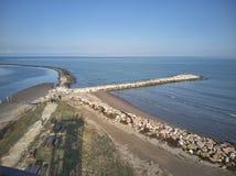 Vue aérienne des digues artificielles photographie stock libre de droits