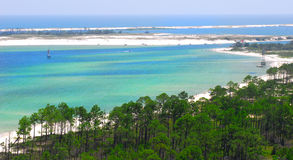 Vue aérienne des eaux côtières Photo libre de droits