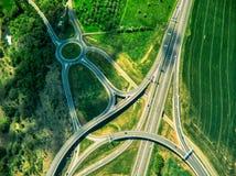 Vue aérienne des fermes de nea de carrefours image stock