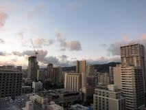 Vue aérienne des hôtels et des logements de Waikiki Photo libre de droits