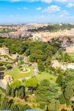Vue aérienne des jardins de Vatican Image stock