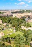 Vue aérienne des jardins de Vatican Image libre de droits