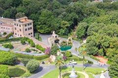 Vue aérienne des jardins de Vatican Photo stock