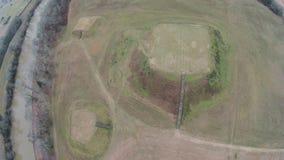 Vue aérienne des monticules d'Indien d'Etowah Images libres de droits