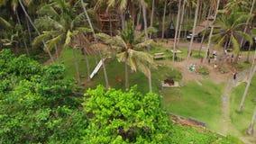 Vue aérienne des oscillations de couples sur une plage tropicale avec le sable noir photographie stock libre de droits