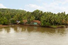 Vue aérienne des pêcheurs village, Konkan, maharashtra photo libre de droits