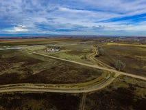 Vue aérienne des ranchs et des fermes dans le Colorado oriental image stock