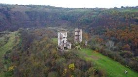 Vue aérienne des ruines du château de Chervonohrad l'ukraine banque de vidéos