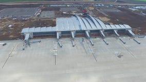 Vue aérienne des terminaux et de la tour Vue aérienne du parc d'air près du centre de la ville de Cracovie Terminal d'aéroport, m Photographie stock libre de droits