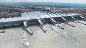 Vue aérienne des terminaux et de la tour Vue aérienne du parc d'air près du centre de la ville de Cracovie Terminal d'aéroport, m Photo libre de droits