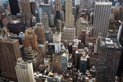 Vue aérienne des toits de Manhattan images libres de droits