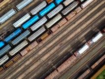 Vue aérienne des trains images libres de droits