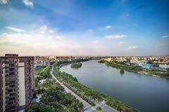 Vue aérienne des villes de Renhe et de la rivière de liuxi Image stock