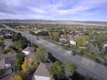 Vue aérienne des voisinages et de la route image libre de droits