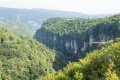 Vue aérienne du canyon d'Okatse Photo libre de droits