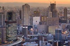 Vue aérienne du centre d'affaires centrales de ville d'Osaka Photographie stock libre de droits