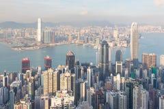 Vue aérienne du centre d'affaires centrales de ville de Hong Kong Photos libres de droits