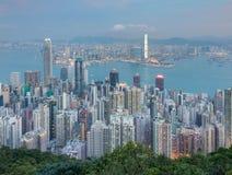 Vue aérienne du centre d'affaires de ville de Hong Kong Photographie stock libre de droits