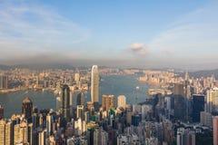Vue aérienne du centre d'affaires de ville de Hong Kong Photos libres de droits