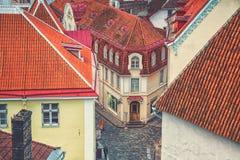 Vue aérienne du centre de Tallinn, Estonie Images stock