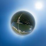 Vue aérienne du centre ville Carrefours, maisons Photo stock