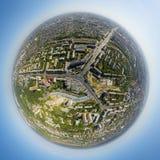 Vue aérienne du centre ville Carrefours, maisons Image libre de droits
