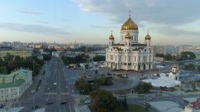Vue aérienne du Christ la cathédrale de sauveur à Moscou banque de vidéos