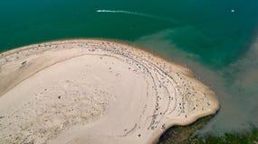 Vue aérienne du ` de Galon d ou de la plage, La Tremblade, Charente Mari images libres de droits