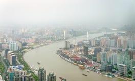 Vue aérienne du fleuve Huangpu à Changhaï image libre de droits