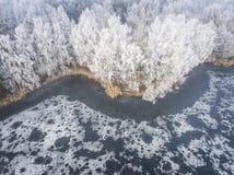 Vue aérienne du fond d'hiver avec une forêt couverte de neige Photos libres de droits