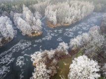 Vue aérienne du fond d'hiver avec une forêt couverte de neige Photographie stock