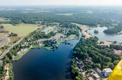 Vue aérienne du hlensee de ¼ de MÃ près du Schlosssee avec le musée de moulin image libre de droits