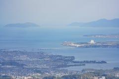 Vue aérienne du lac Biwa et du paysage urbain photo stock