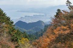 Vue aérienne du lac Biwa et du paysage urbain photo libre de droits