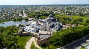 Vue aérienne du monastère des Carmélites nues dans Berdichev, Ukraine Images stock