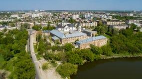 Vue aérienne du monastère des Carmélites nues dans Berdichev, Ukraine Image stock