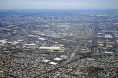 Vue aérienne du péage et de Newark Liberty International Airport de New Jersey Photos stock