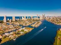 Vue aérienne du paradis de surfers sur la Gold Coast, Queendsland, Images libres de droits