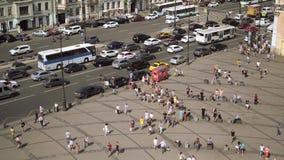 Vue aérienne du passage pour piétons de la perspective de Ligovsky, gare ferroviaire de Moscou banque de vidéos