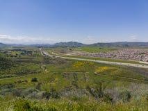 Vue aérienne du paysage urbain de Hemet et de la fleur de fleur sauvage photo stock