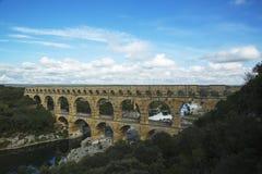 Vue aérienne du Pont du le Gard, pont romain antique en aqueduc Images libres de droits